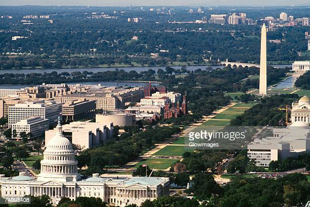 Aerial view of a government building, Capitol Building, Washington Monument, Washington DC, USA