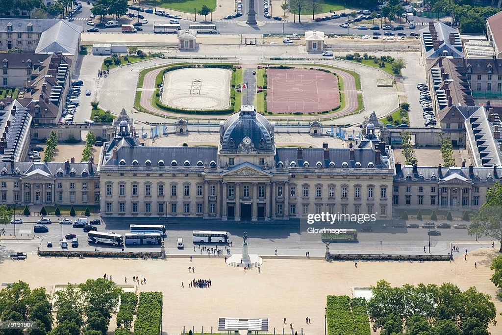 Aerial view of a government building, Ecole Militaire, Paris, France : Foto de stock