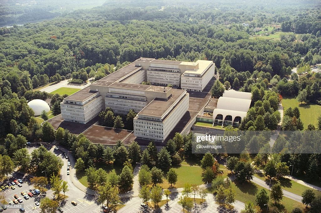 Aerial view of a government building in a city, CIA headquarters, Virginia, USA : Stock Photo
