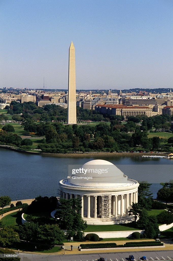 Aerial view of a government building, Jefferson Memorial, Washington Monument, Washington DC, USA : Stock Photo
