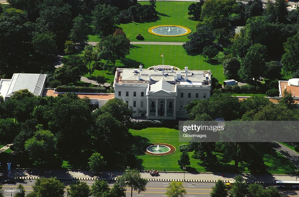 Aerial view of a government building, White House, Washington DC, USA : Stock Photo