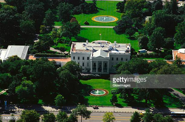Aerial view of a government building, White House, Washington DC, USA