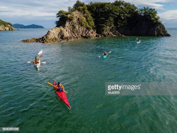 Aerial view of a group of men and women sea kayaking