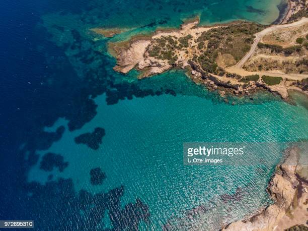 aerial view of a gulf in aegean sea in summer - aegean turkey stock pictures, royalty-free photos & images