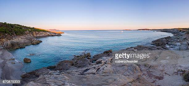 Aerial view of a hidden beach at sunrise, Corsica, France