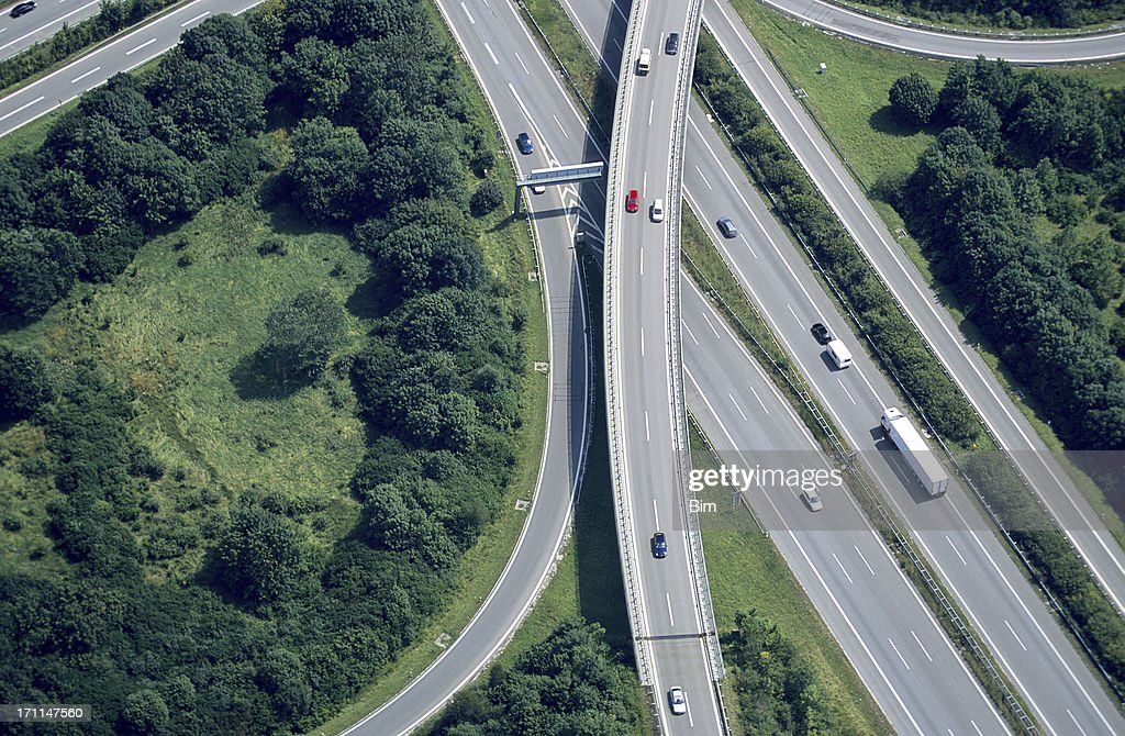 Aerial View of a Highway Intersection : Stock Photo