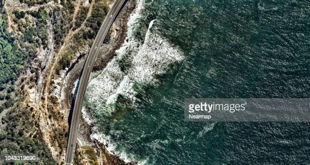 aerial view of a highway. new south wales. australia - new bay bridge stock pictures, royalty-free photos & images