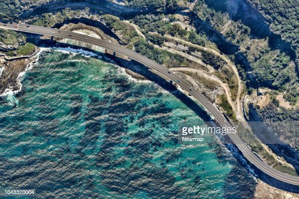 aerial view of a highway. new south wales. australia - coastline stock pictures, royalty-free photos & images