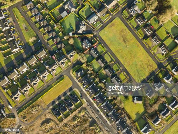 Aerial view of a housing estate in rural Ireland.