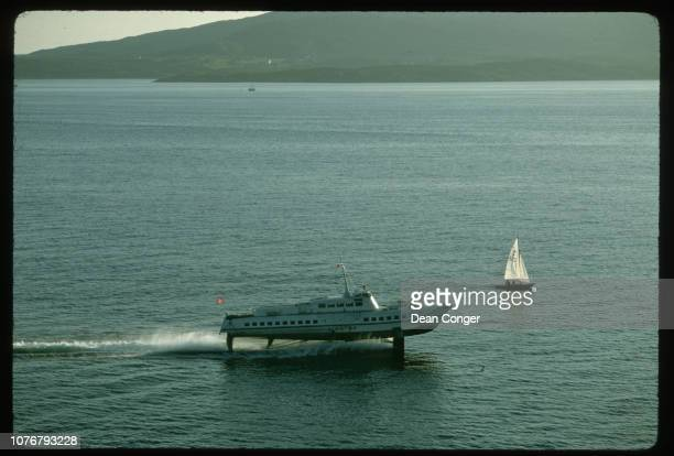 Aerial View of a Hydrofoil and Sailboat Norway