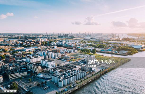aerial view of a industrie complex in hamburg, germany - hamburg germany stock pictures, royalty-free photos & images
