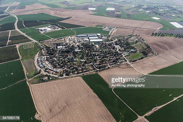 Aerial view of a kibbutz in southern Israel