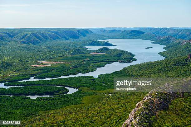 Aerial view of a lake and escarpments in the Kimberley region,  Australia