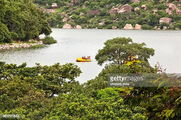 Aerial view of a lake surrounded by hills, Durgam Cheruvu Lake, Rangareddy, Andhra Pradesh, India