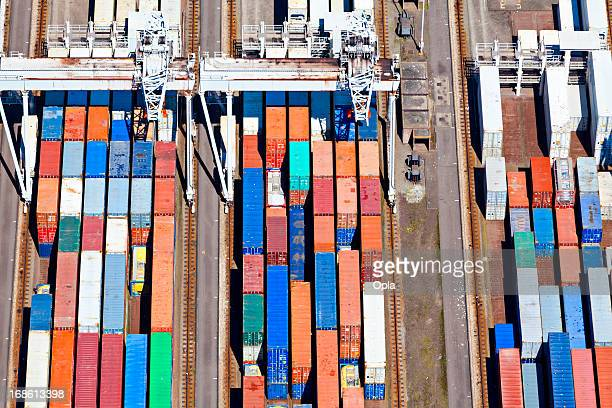 Aerial view of a large container terminal