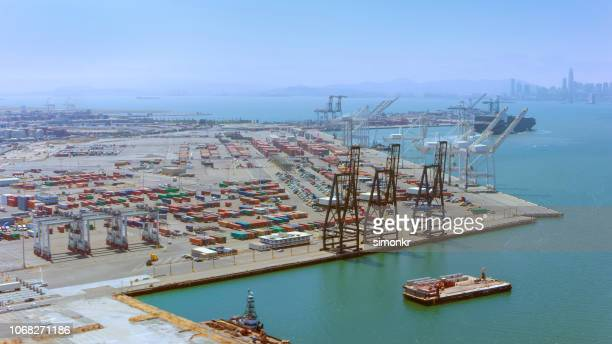 aerial view of a large ship loading dock in california, usa - moored stock pictures, royalty-free photos & images