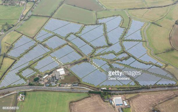O7 Aerial view of a large solar farm in Gloucestershire on February 07 2017 Four miles west of stroud next to the river Cam lies the 30MWp solar...