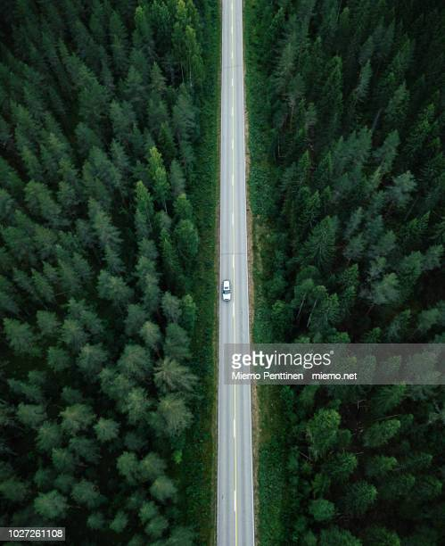 aerial view of a long straight of a country road in the middle of a forest in finland - strada foto e immagini stock
