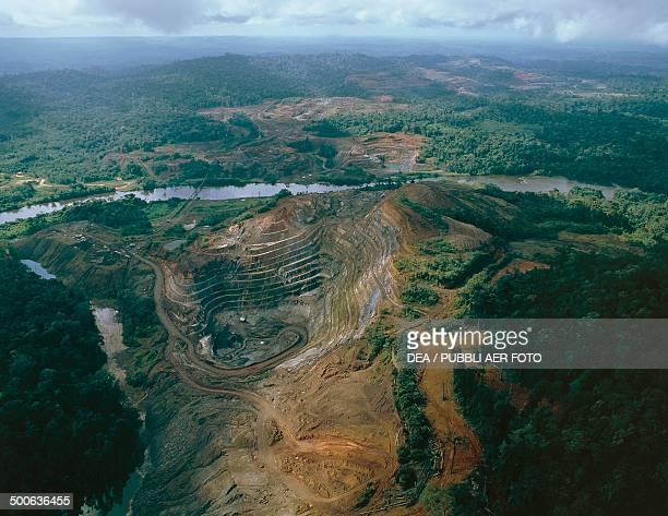 Aerial view of a manganese mine, Serra do Navio, north of Macapa, State of Amapa, Brazil.