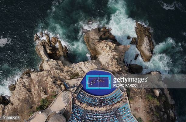TOPSHOT Aerial view of a Mariachi band performing during an exhibition tennis match between Austrian player Dominic Thiem and German player Alexander...
