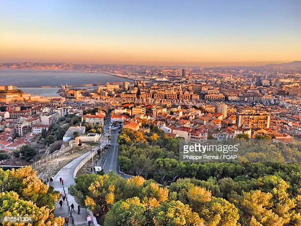 aerial view of a marseille city, france - bouches du rhone stock pictures, royalty-free photos & images