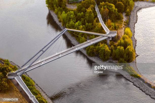 aerial view of a modern footbridge at parlamentsufer duesseldorf - north rhine westphalia stock pictures, royalty-free photos & images