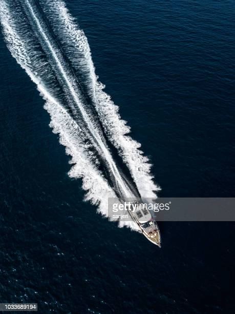 Aerial view of a motor boat