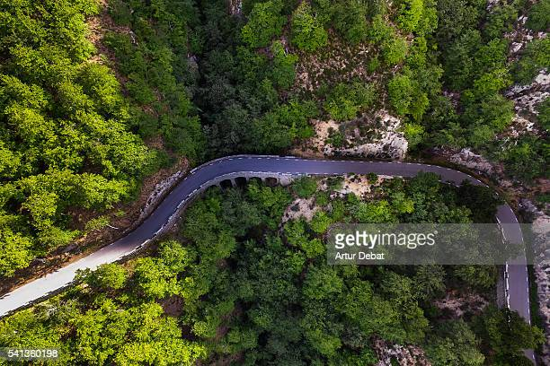 Aerial view of a mountain road between the green forest with beautiful curves.