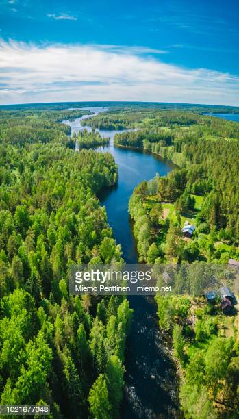 aerial view of a narrow river saimaa lake region, finland - finlandia fotografías e imágenes de stock