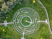 Aerial view of a natural labyrinth in the garden. Photo from the drone
