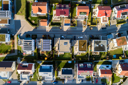 Aerial view of a new residential neighborhood 1070117618