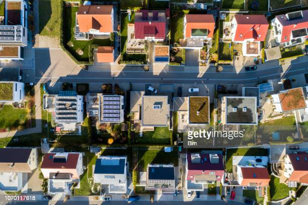 aerial view of a new residential neighborhood - town stock pictures, royalty-free photos & images