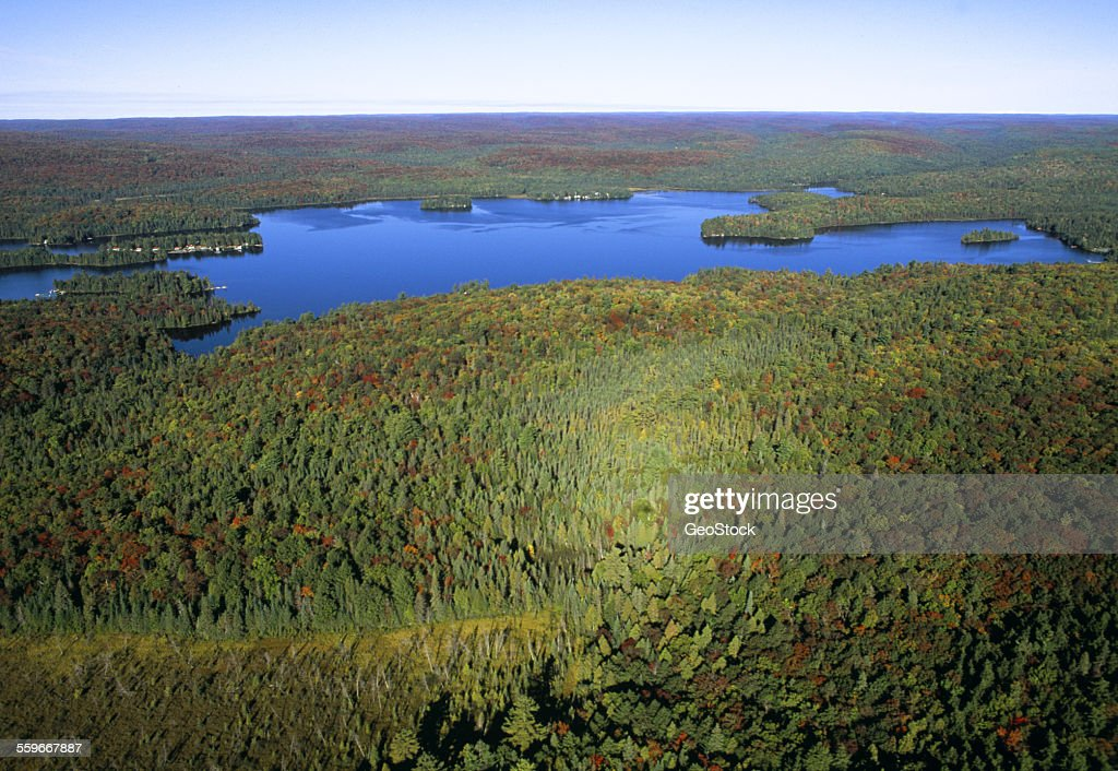 Aerial view of a northern wilderness : Stock Photo
