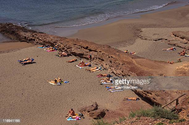 Aerial view of a nudist beach at La Tejita on March 25 2011 in Tenerife Spain Tenerife is the biggest of the Canary Islands and yearround holiday...