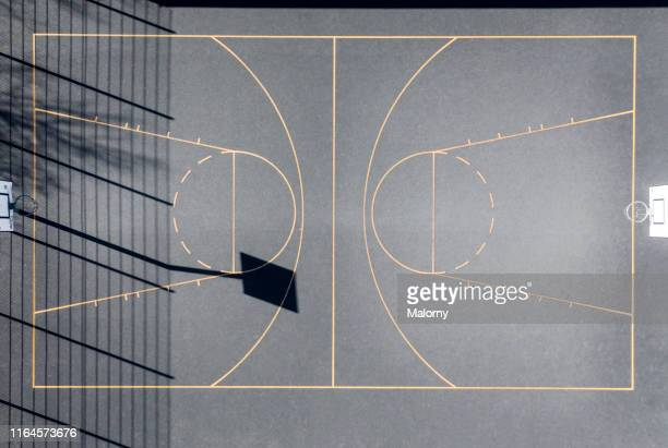 aerial view of a outdoor basketball court. drone view. - basket ball photos et images de collection