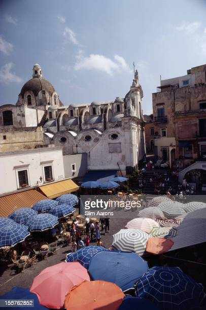 Aerial view of a parasols shading customers at cafes and restaurants in the Piazza Umberto on the island of Capri Italy in August 1980