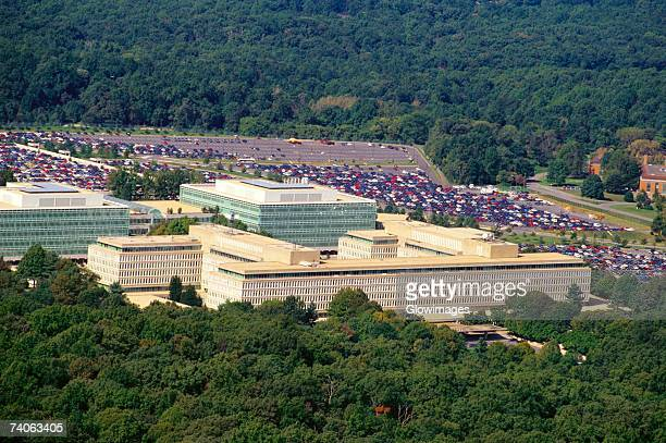 Aerial view of a parking lot beside a government building, CIA headquarters, Virginia, USA