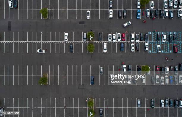 aerial view of a parking lot with shopping carts