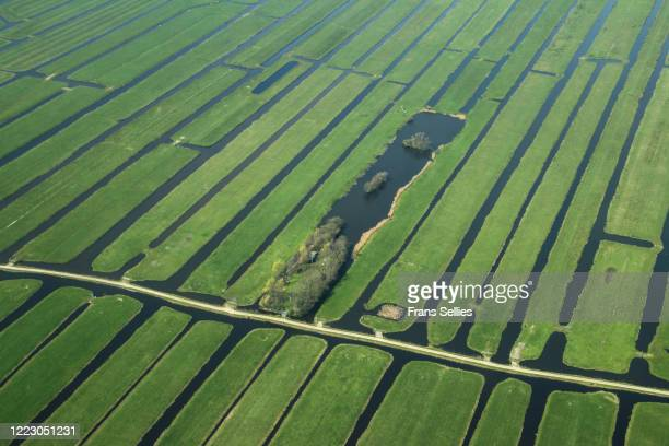 aerial view of a polder or reclaimed lands, holland - south holland stock pictures, royalty-free photos & images