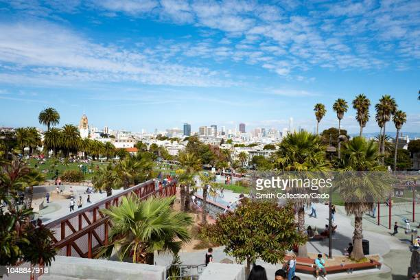 Aerial view of a portion of the Helen Diller Playground in Dolores Park an iconic public park in the Mission District neighborhood of San Francisco...