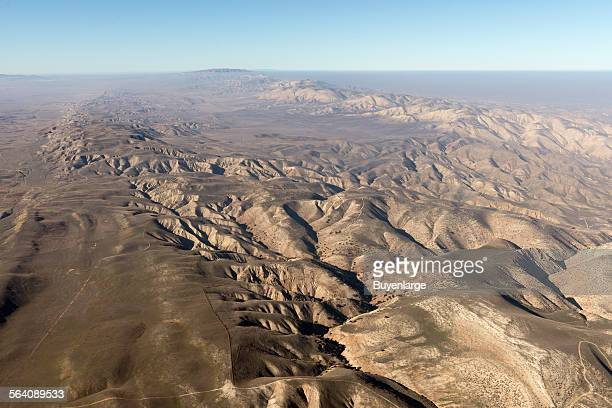 Aerial view of a portion of the San Andreas fault in California Sierra Madre Mountains, midway between Bakersfield and Santa Barbara