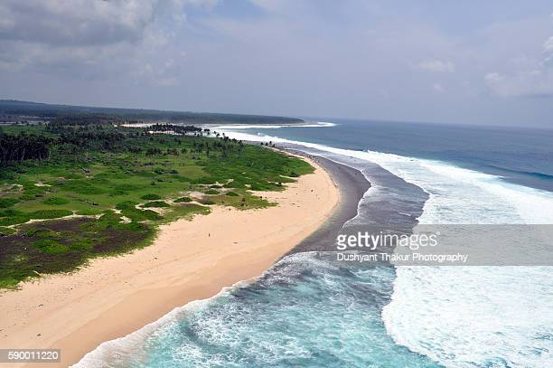 Aerial view of a pristine island beach Andamans.