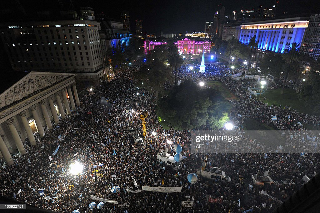 Aerial view of a protest against Argentine President Cristina Fernandez de Kirchner's government policies at Mayo square in Buenos Aires on April 18, 2013.