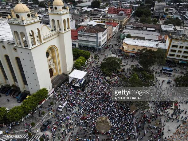 Aerial view of a rally during the 29th anniversary of the peace accords on January 16, 2021 in San Salvador, El Salvador. January 16 marks 29 years...