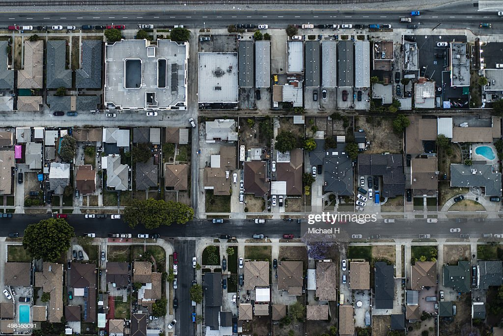 Aerial view of a residential area,LA : Stock Photo