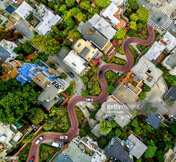 aerial view of a residential city area, with road descending a hillside with eight hairpin turns. - san francisco california stock photos and pictures
