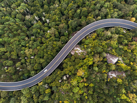 Aerial View of a road winding through a forest 1085457716