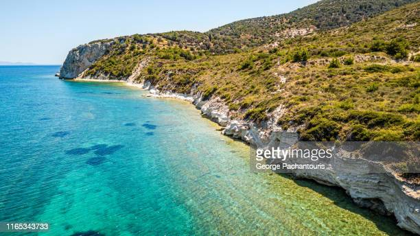 aerial view of a rocky beach on the island of samos, greece - aegean sea stock pictures, royalty-free photos & images