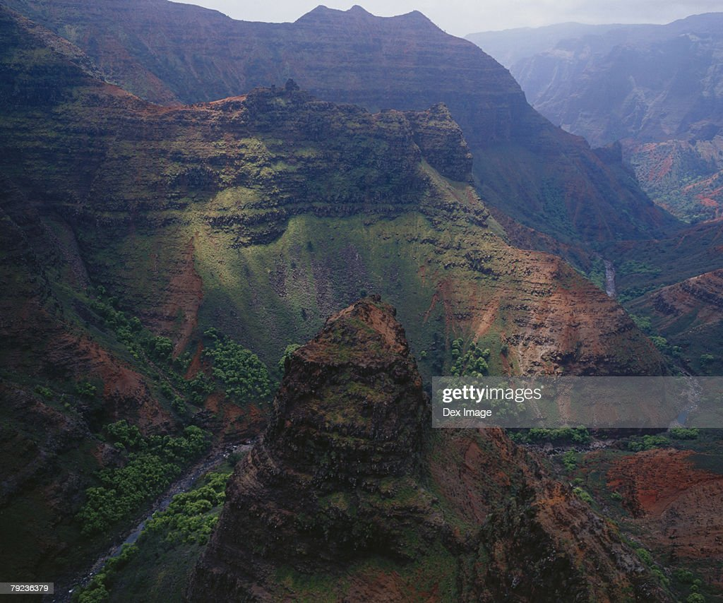 Aerial view of a rocky mountain range, Kauai, Hawaii : Stock Photo