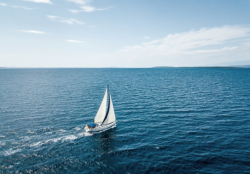 Aerial view of a sailing boat 1035007028